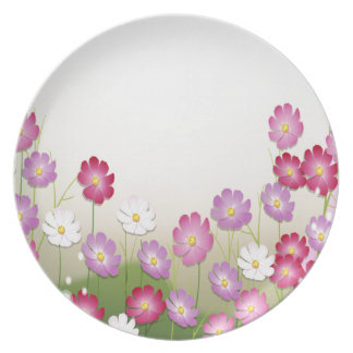 Pink, Purple and White Flowers Party Plates