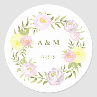Pink Purple and Yellow Watercolor Roses Wedding Round Sticker