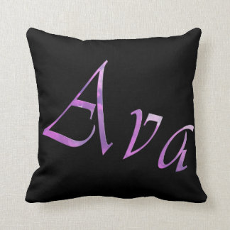Pink Purple Ava Name Logo, Cushion