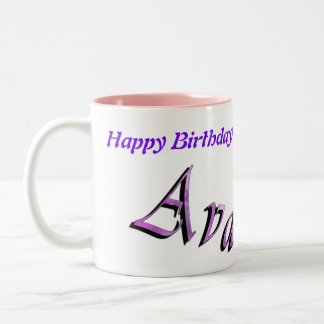 Pink Purple Ava Name Logo, Two-Tone Coffee Mug
