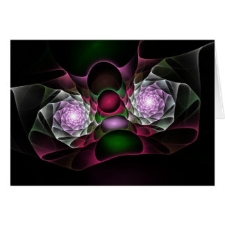 Pink Purple Black Bubbles and Eyes Fractal Art Greeting Card