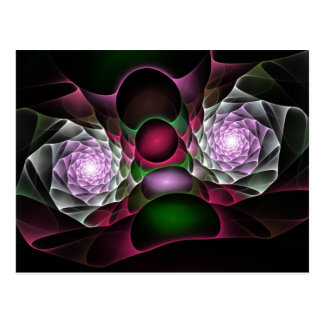 Pink Purple Black Bubbles and Eyes Fractal Art Postcard