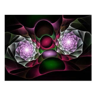 Pink Purple Black Bubbles and Eyes Fractal Art Postcard