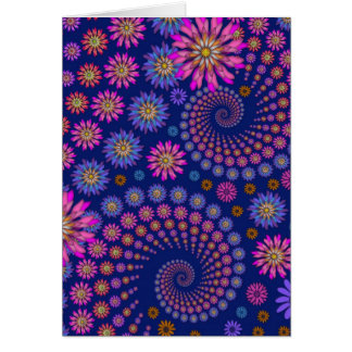Pink Purple Blue Floral Pattern on Blue Card