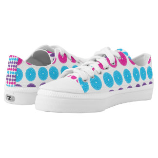 Pink Purple Blue Flower Spiral Printed Shoes