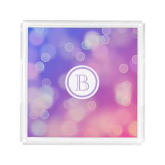 Pink Purple Blue Gradient with Lilac Monogram Acrylic Tray