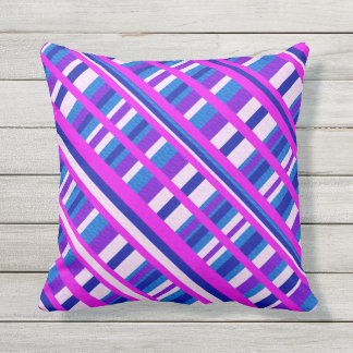 Pink Purple Blue Plaid Diagonal Throw Pillow