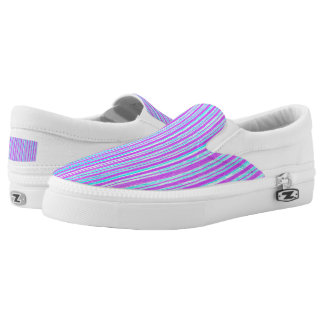 Pink & purple & blue stripes- Zipz Slip On Shoes, Printed Shoes