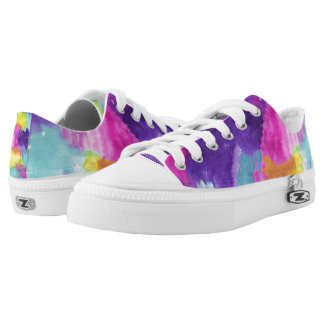 Pink Purple Blue Yellow Watercolor Printed Shoes