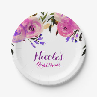 Pink & Purple Bright Modern Floral Bridal Shower Paper Plate