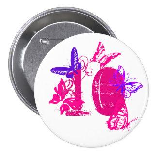Pink, purple butterflies, pink '10' button, nine.