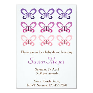 Pink Purple Butterfly Babyshower invitation