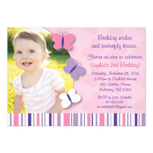 Pink & Purple Butterfly Photo Birthday Invitation