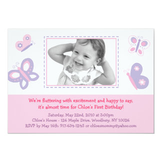 Pink & Purple Butterfly Photo Birthday Invitations