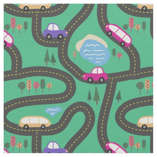 Pink & Purple Cars - Kids Road Map Fabric