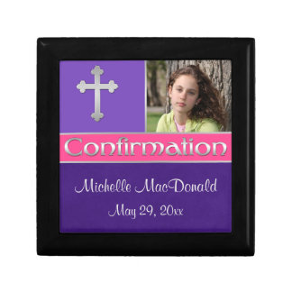 Pink, Purple Confirmation Keepsake Jewellery Box Small Square Gift Box