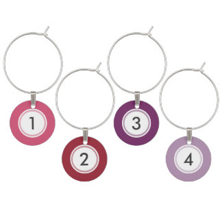 Pink Purple Custom Set of 4 Wine Charms