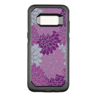 Pink Purple Dahlia flowers, silver glitter OtterBox Commuter Samsung Galaxy S8 Case
