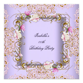 Pink Purple Damask Gold Flowers Birthday Party Card