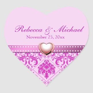 Pink / Purple Damask with Personalized Initials Stickers
