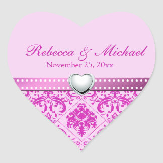 Pink / Purple Damask with Personalized Initials Sticker