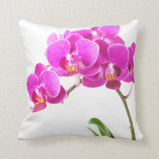 Pink Purple Dendrobium Orchid Tropical Flower Throw Pillow