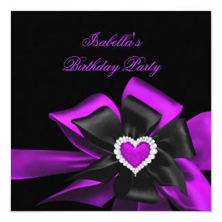 Pink Purple Diamond Heart Black Bow Birthday Party 13 Cm X 13 Cm Square Invitation Card