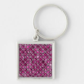 Pink Purple Diamond Pattern Silver-Colored Square Key Ring