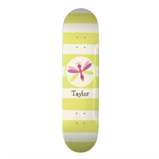 Pink & Purple Dragonfly on Lime Green Stripes Custom Skateboard
