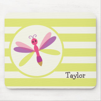 Pink & Purple Dragonfly on Lime Green Stripes Mousepads