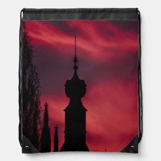 pink purple drawstring bag