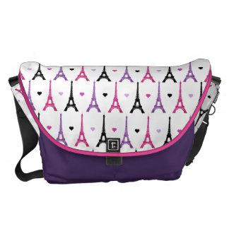 Pink & Purple Eiffel Tower pattern Commuter Bags