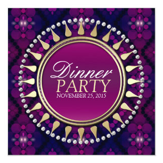 Pink Purple Exotic Sun Dinner Party Invitation