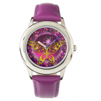 PINK PURPLE FLORAL CROWN GOLD BUTTERFLY ,GEMSTONES WATCH