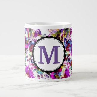 Pink & Purple Floral Monogrammed Large Coffee Mug