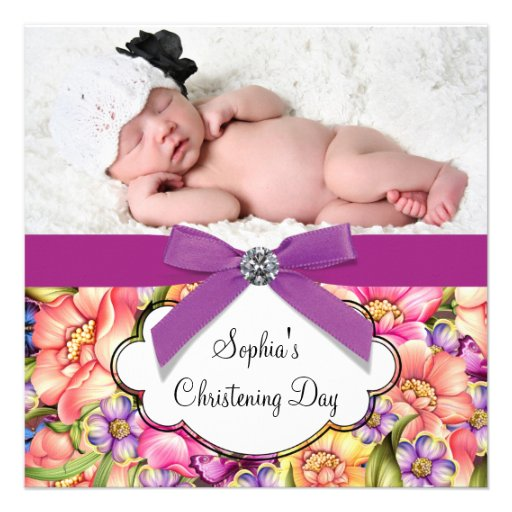 Pink Purple Flower Baby Girl Photo Christening Announcements