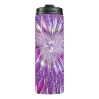 Pink Purple Flower Passion Abstract Fractal Art Thermal Tumbler