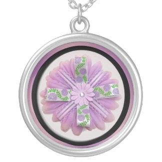 Pink & Purple Flower Round Pendant Necklace