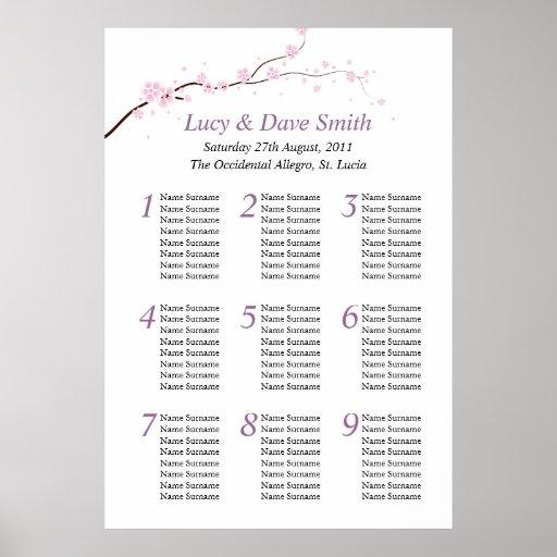 Pink & Purple Flower Wedding Table Seating Plan Posters