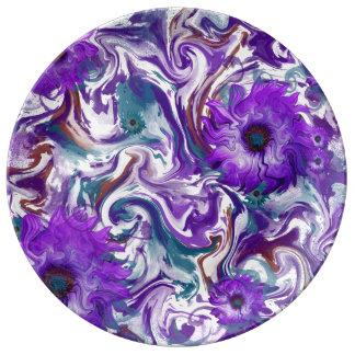 Pink Purple Flowers Porcelain Plates