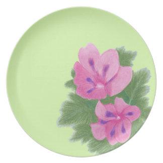 Pink Purple Geranium Flowers Melamine Plates