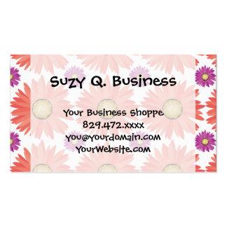 Pink Purple Gerber Daisy Flowers Floral Pattern Business Card Template