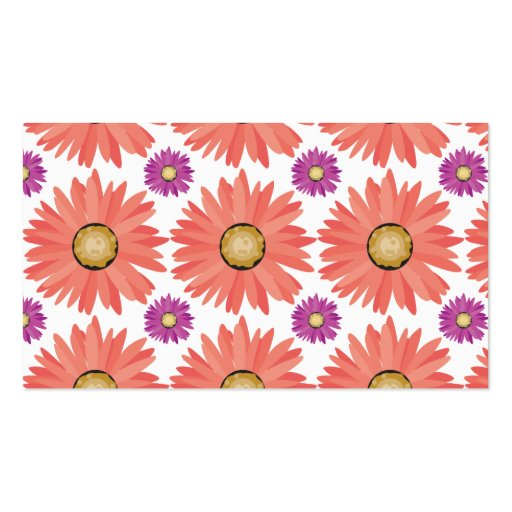 Pink Purple Gerber Daisy Flowers Floral Pattern Business Card Templates