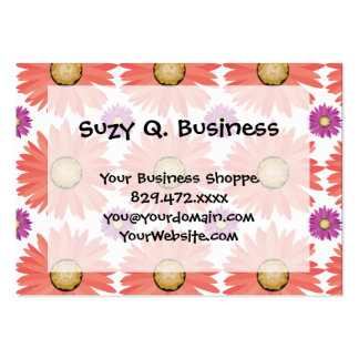 Pink Purple Gerber Daisy Flowers Floral Pattern Large Business Cards (Pack Of 100)