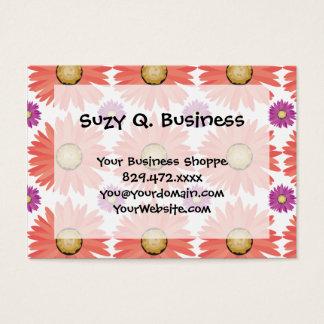 Pink Purple Gerber Daisy Flowers Floral Pattern Business Card