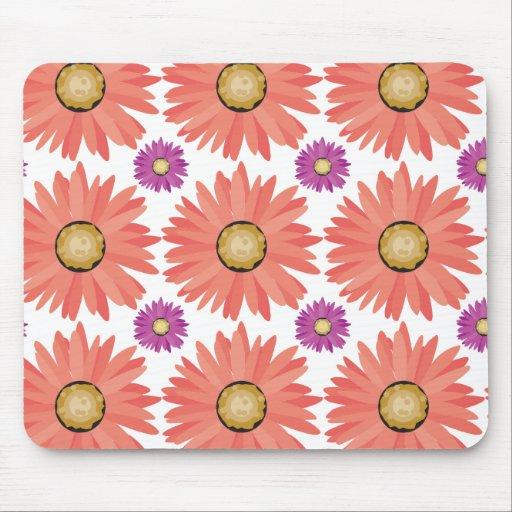 Pink Purple Gerber Daisy Flowers Floral Pattern Mousepad