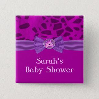 Pink & Purple Giraffe Baby Shower 15 Cm Square Badge