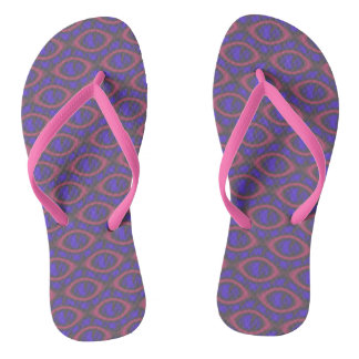 Pink Purple Girly Abstract Print Lovely Trendy Thongs