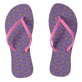 Pink Purple Girly Abstract Retro Geometric Pattern Thongs