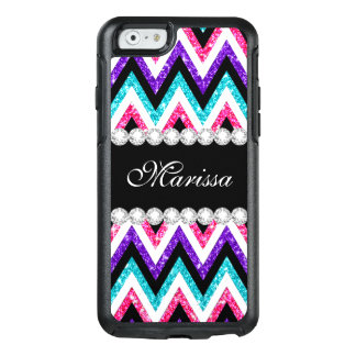 Pink Purple Glitter Aqua Blue Black White Chevrons OtterBox iPhone 6/6s Case